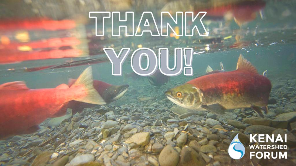 "Sockeye Salmon with text overlaid saying ""Thank You!"""